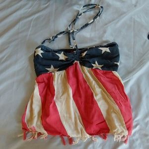 American Flag tube top with neck tie.